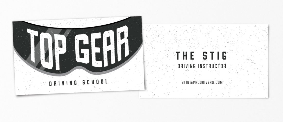 The Stig Top Gear 1100x475 - Real Life Business Cards Of Your Favorite Pop Culture Characters