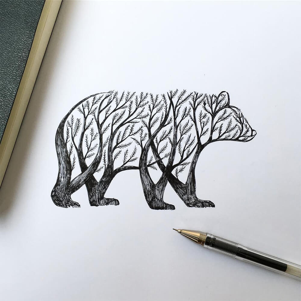 Alfred Basha's Pen & Ink Sketches of Trees Growing into Animals -