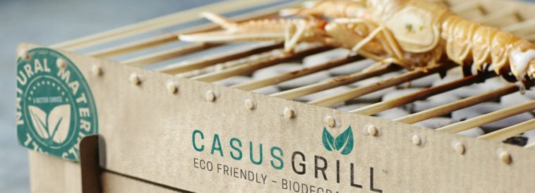Casusgrill is a sustainable instant grill made from lava rock -package