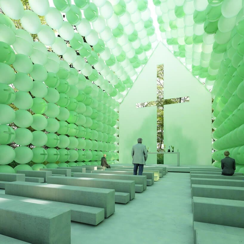 A French Architect Created A  Green Chapel of Spheres that Can be Transported -