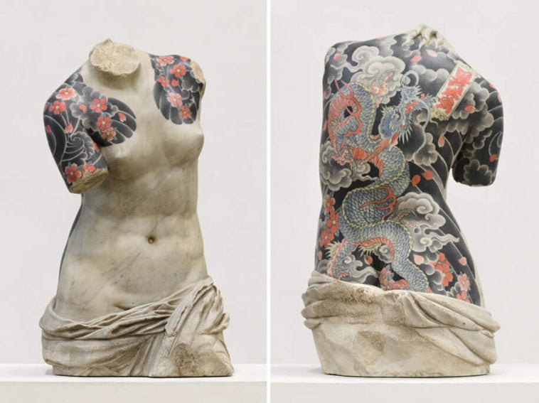 Italian Artist Decorates Classical Sculptures With Realistic Tattoos -