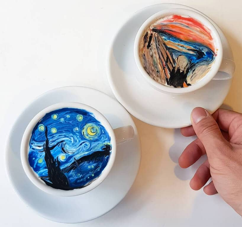 Artist Recreates Iconic Masterpieces in the Form of Latte Art -