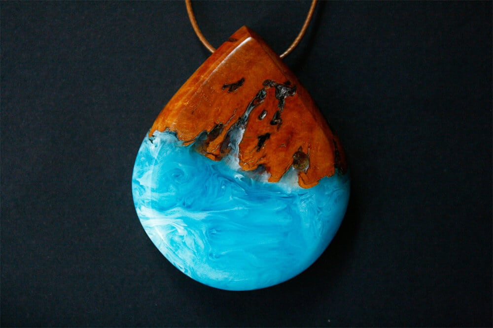 Resin and Wood Jewelry Enclosed Ocean Waves by Britta Boeckmann -