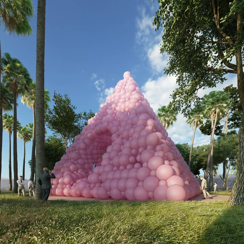 French Artist Created A Pyramid Shed Made From Pink Balloons -