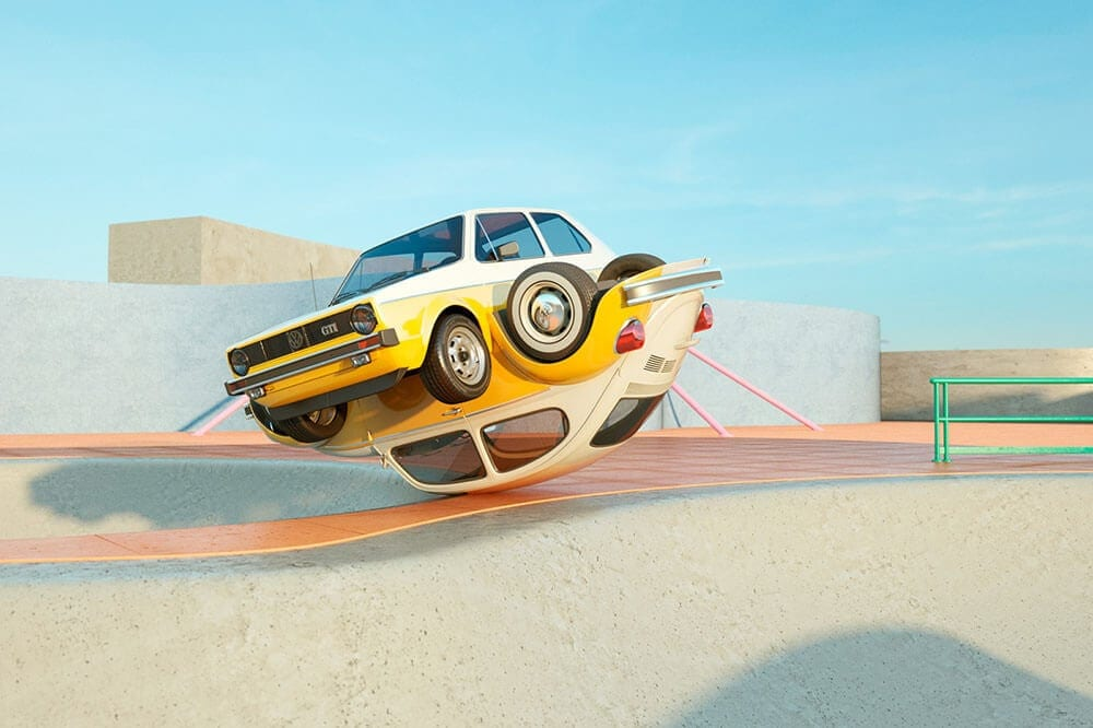 Elastic and Twisted Volkswagen Designs by Chris Labrooy -
