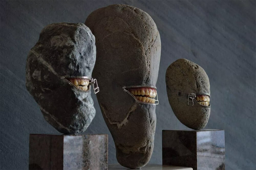 Hirotoshi Ito's Unzipped River Stones with Hidden Objects Inside -sculpture, gohome