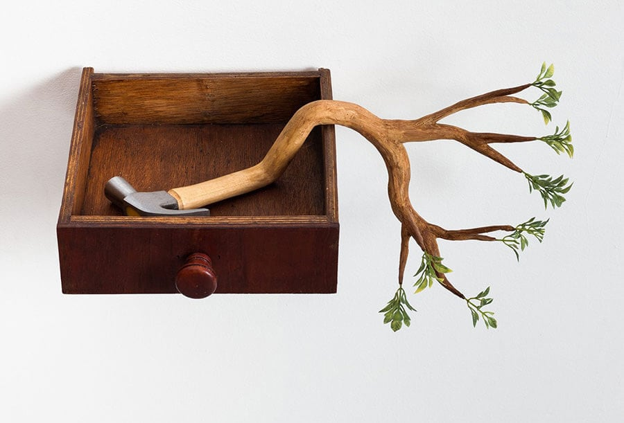 Wooden Sculptures with Sprouted Wooden Limb by Camille Kachani -wood, sculptures