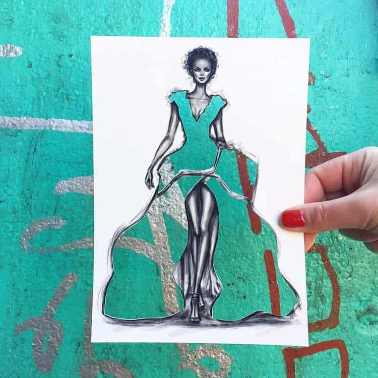 Artist Uses Surroundings to Create His Fashion Paper Cut-Outs -paper cut, paper, gohome