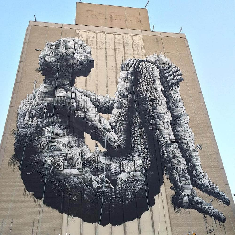 5-Story Tall Robot Mural and Other Recent Murals by Phlegm -