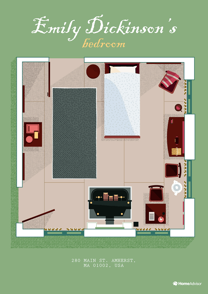 These Illustrations Show The Floor Plans Of 8 Writers' Homes -literature, illustrations, gotop, floor plans