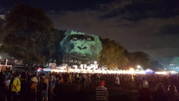 Video installation Animal Watching @ Electric Zoo, New York -visual, trees, tree projection, new york, mapping, maizz, gotop, festival, electric zoo, animal faces, 3d