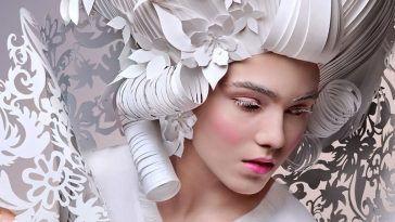 Russian Artist Asya Kozina Gives Baroque Wigs a Modern Touch -paper cut, paper, gohome