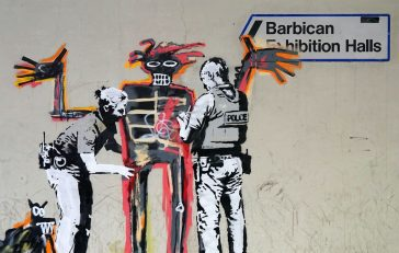 Famous Artist Banksy Unofficially Cooperates With Basquiat Outside the Barbican -street art, mural, Banksy