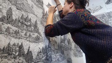Olivia Kemp 12 364x205 - Artist Meticulously Creates Pen and Ink Drawings of Dreamy Landscapes
