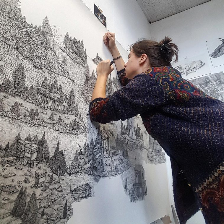 Olivia Kemp 12 758x758 - Artist Meticulously Creates Pen and Ink Drawings of Dreamy Landscapes