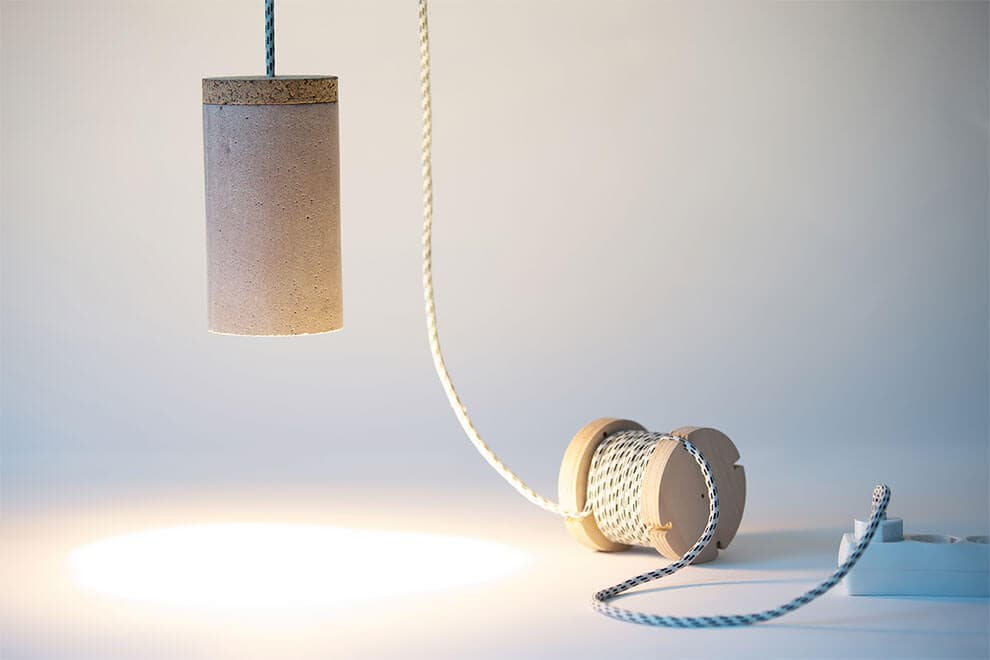 Romanian Designer Created Concrete Lamp That Allows User Customize it with A Stone -lamp
