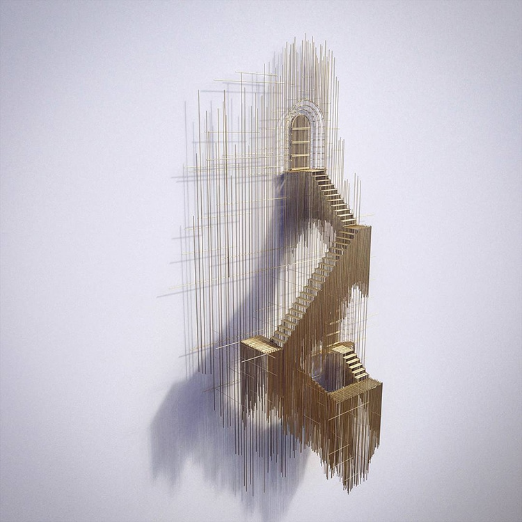 david moreno fy 11 - Spanish Artist Creates Suspended Staircase Sculptures That Look Like 3D Sketches