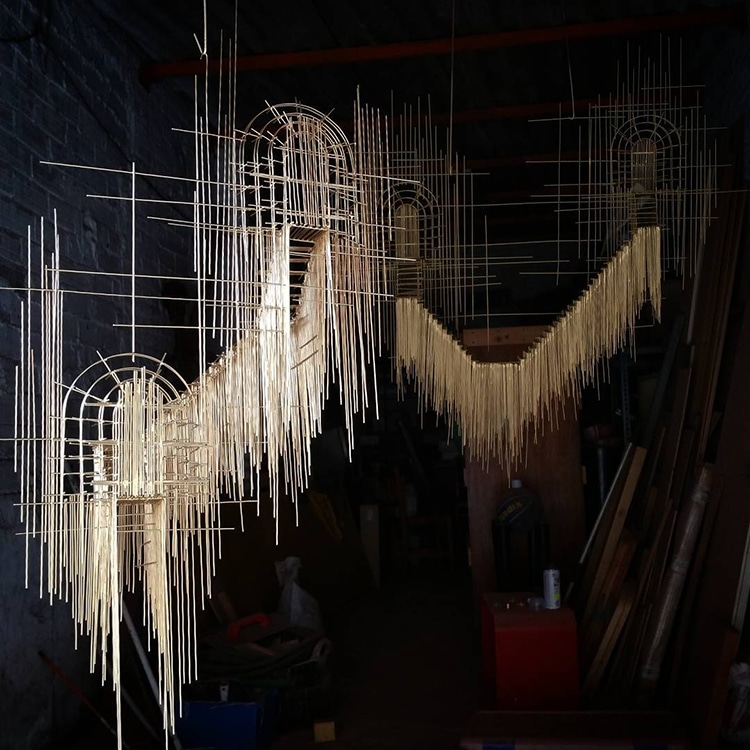 Spanish Artist Creates Suspended Staircase Sculptures That Look Like 3D Sketches -sculptures, sculpture, installation, gohome, artist, architecture