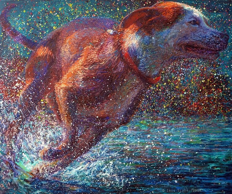 An Artist Uses Finger to Create Vibrant Large-Scale Paintings -paintings, drawings, dogs, artist