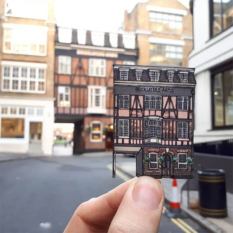 Nomadic Illustrator Matches London's Iconic Pubs with  Paper Cut Drawings -paper-art, paper cut, london, landscapes, gohome, drawings, artist, architecture