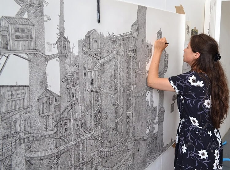 Artist Meticulously Creates Pen and Ink Drawings of Dreamy Landscapes -pencil, paintings, painting, landscapes, landscape, illustrator, artist, architecture