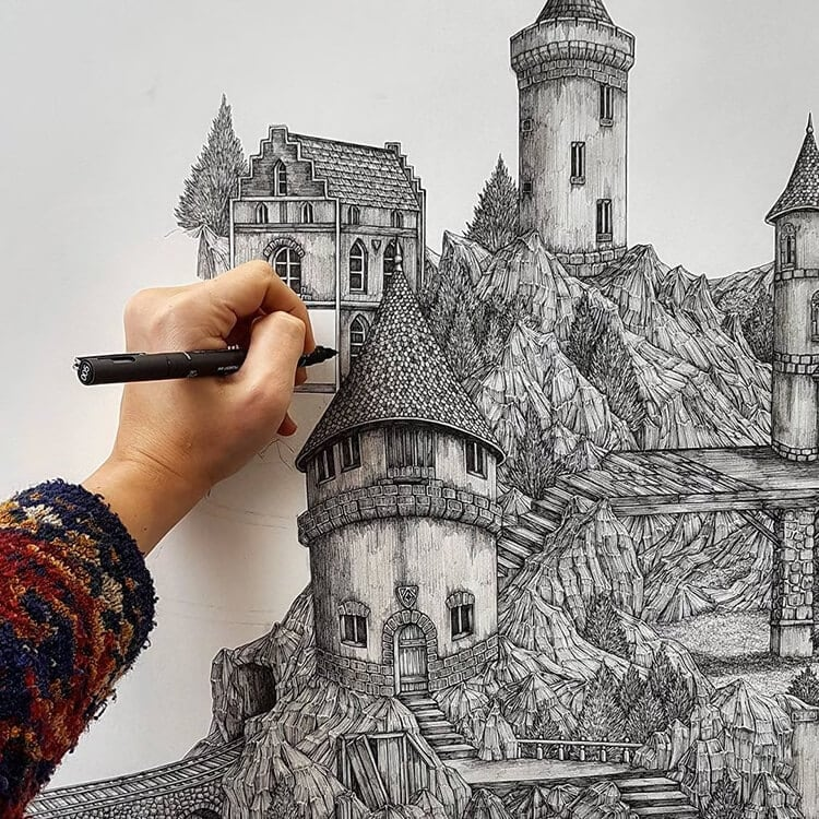olivia kemp fy 12 - Artist Meticulously Creates Pen and Ink Drawings of Dreamy Landscapes