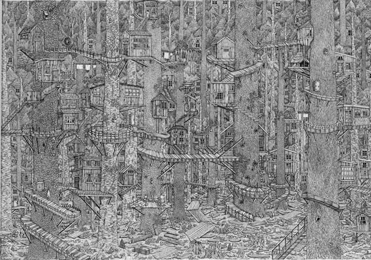 olivia kemp fy 2 - Artist Meticulously Creates Pen and Ink Drawings of Dreamy Landscapes