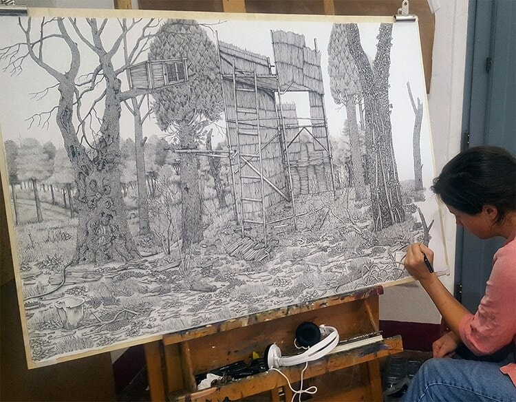 olivia kemp fy 6 - Artist Meticulously Creates Pen and Ink Drawings of Dreamy Landscapes