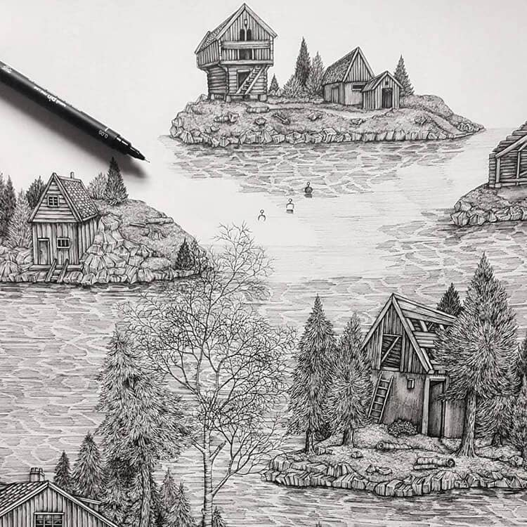 olivia kemp fy 9 - Artist Meticulously Creates Pen and Ink Drawings of Dreamy Landscapes