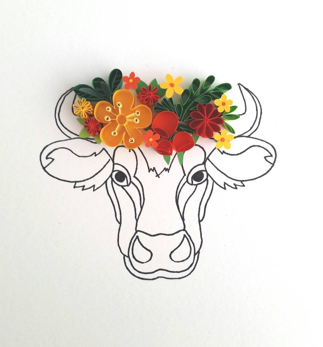 Colorful Paper Quilled Flowers Make Line Drawings Come Alive -paper-art, paper
