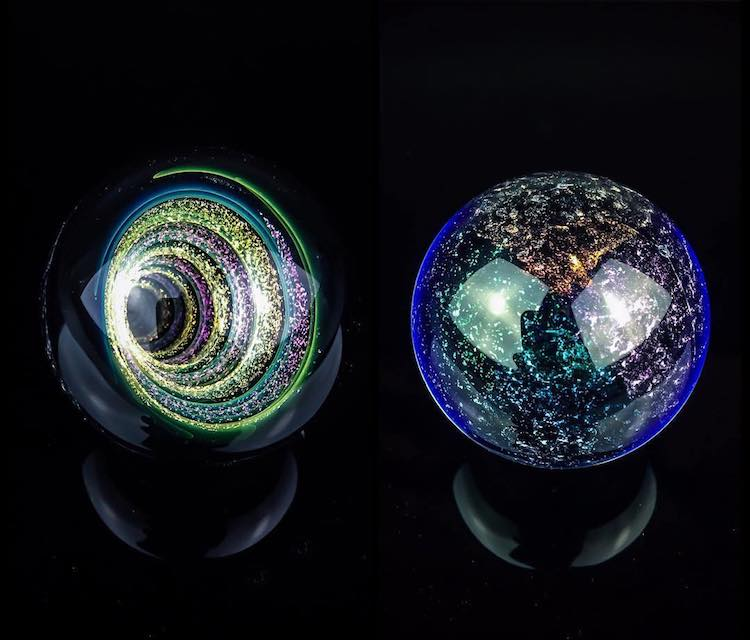 Artist Plants Sparkling Spiral Vortexes into Miniature Glass Marbles -marble, gohome, glasses, glass