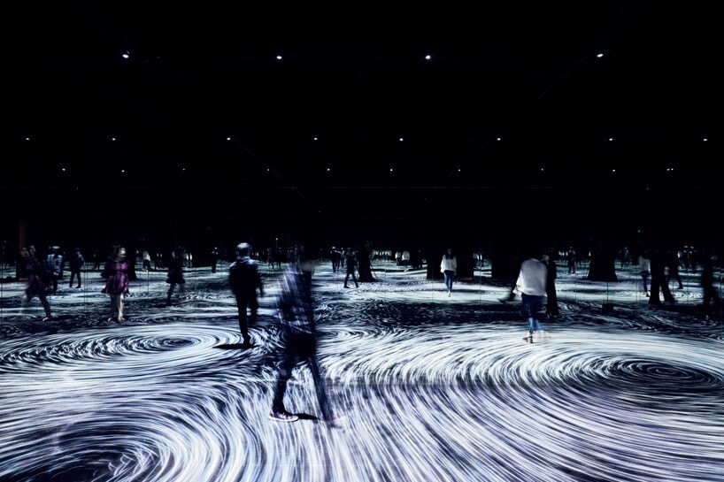 Swirling Ocean Verticles Installation at The National Gallery of Victoria by teamLab -particles, gohome, exhibition