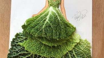 3D Fashion Illustrations Use Found Objects to Create Beautiful Gowns -SKETCH, illustrations, food