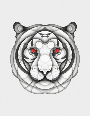 An Illustrator Creates Albino Animals Using Just Circles -illustrations, illustration