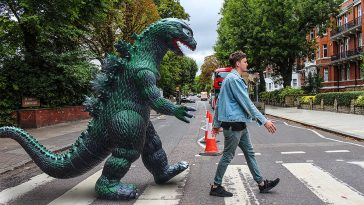 This Guy Photoshops Life-Sized Plastic Godzilla into His Travel Photos -Photoshop, photo manipulation, gohome, godzilla