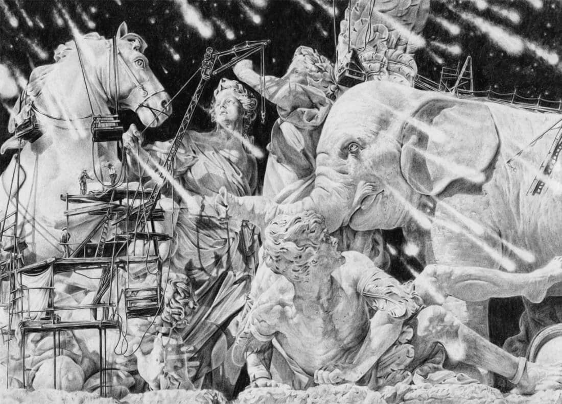 High-Detailed Illustrations portray Abstract Monochrome Dreamscapes by Clément Fourment -sketches, pencil, drawings