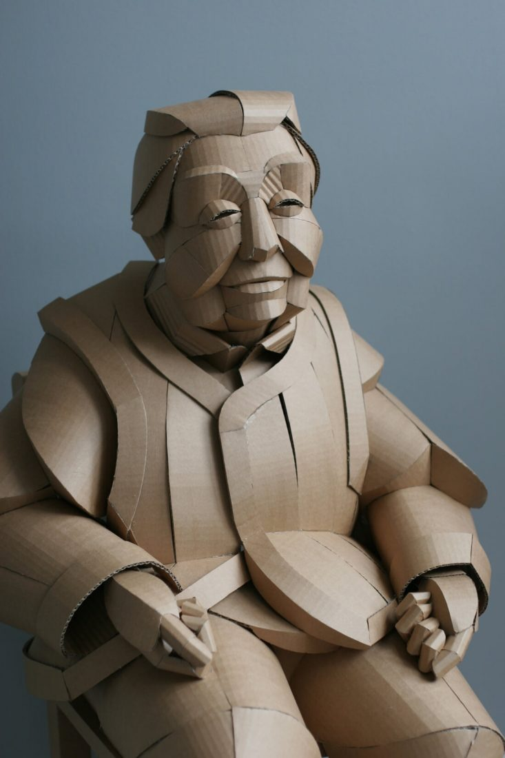 An Artist Creates Giant sculptures of Chinese villagers from Cardboard -sculptures, paper, gohome, china