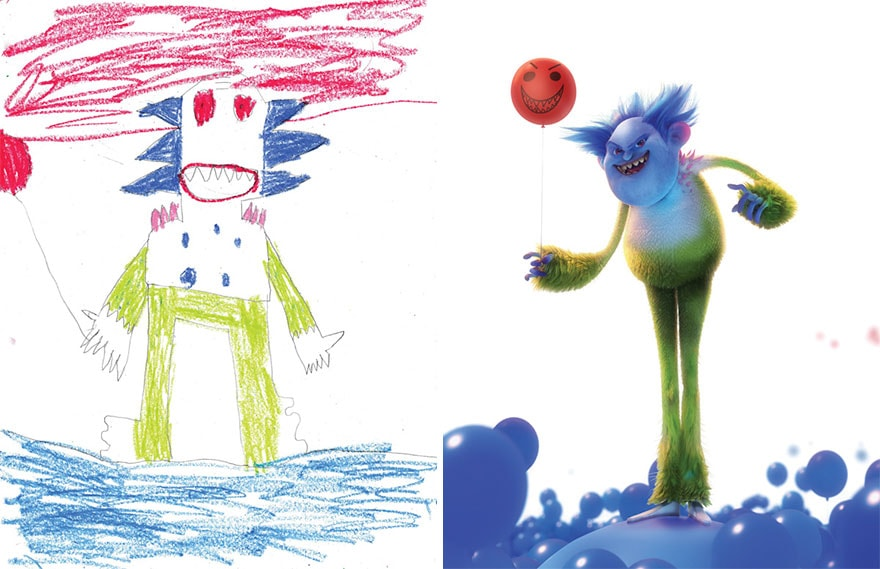 Before and After: A Group Professional Artists Transformed Kids' Monster Doodles into 3D Art -kids, drawings, doodle