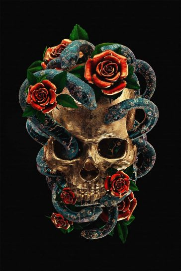Incredibly Beautiful Series Of 3D Illustrations Inspired By Traditional Tattoo Patterns -skull, haunted, gohome, drawing