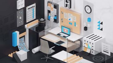 7 Home Office Designs Inspired By Classic Fonts -typography, typefaces, office design, interior design, home decor, 3d