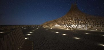 Creative Twisting Wooden Pavilion Revealed By Arthur Mamou-Mani For Burning Man 2018 -temple, festival, constuction, burning man
