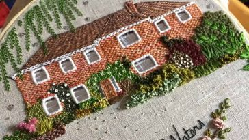 An Artist Uses Stitches To Create Embroidery Family Homes -knitting, houses, house, embroidery