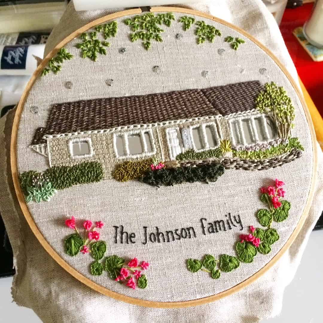 An Artist Uses Stitches To Create Embroidery Family Homes ...