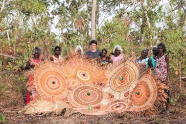 A Designer Cooperates With Aboriginal Craftspeople to Create Eco-Friendly Lamp Shades -lamp, handmade, handcraft, australia