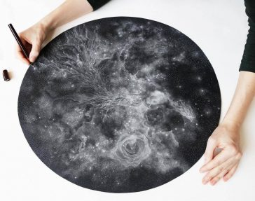 Petra Kostova's Black and White Drawings of Star-Packed Galaxies -stars, sketches, pencil, gohome, geometric, galaxy, drawing, black and white