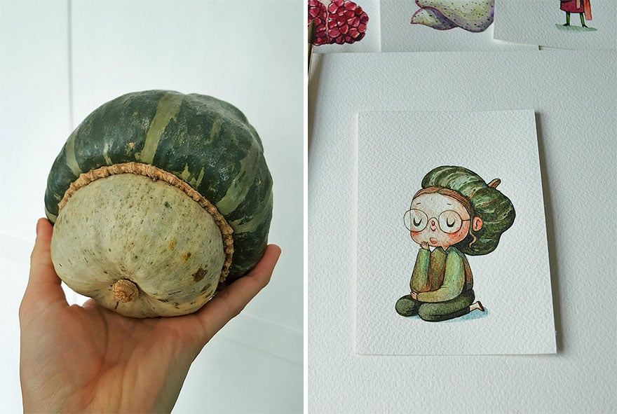 Artist Marija Tiurina Brings Fruits to Life in His Watercolour Paintings -watercolor, vegetable, painting, gohome, fruit, food, drawings, characters