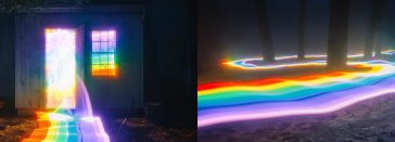 Marvelous Light Paintings By Daniel Mercadante Showing Rainbow Flow Through The Forest -Light Painting, light, Instagram, forest