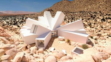 A House Made of White Cargo Containers In California Desert -gohome, desert, construction, cargo, building