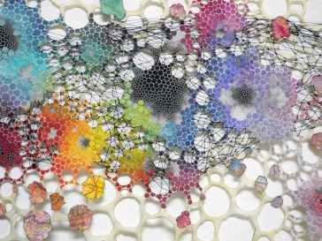 Colorful Tapestries Created from Burned, Threaded and Decorated Paper -papercut, paper-art, exhibition