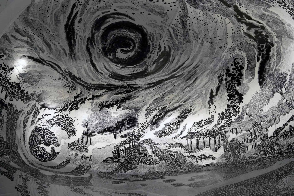 A Brazilian Artist Uses 120 Marker Pens to Create Whirling Landscape Drawings -pencil, drawing, black and white